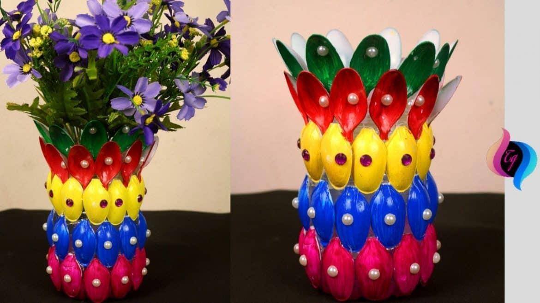 Flower Vase of Recycled Plastic Spoons