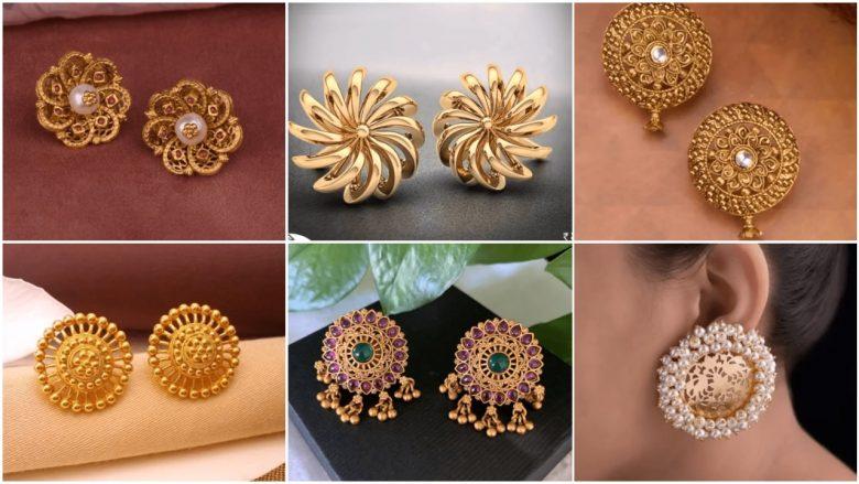 Big Gold Stud Earring Designs