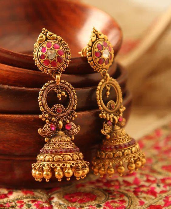 Gold Antique Jhumka Earrings