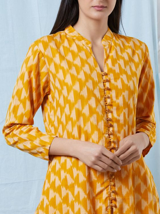 Neck Designs with Buttons for Kurti