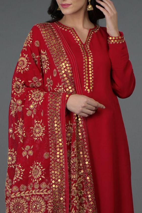 red kurti with v-neck design