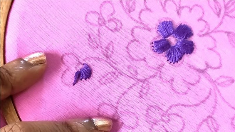 stihing with a violet color thread