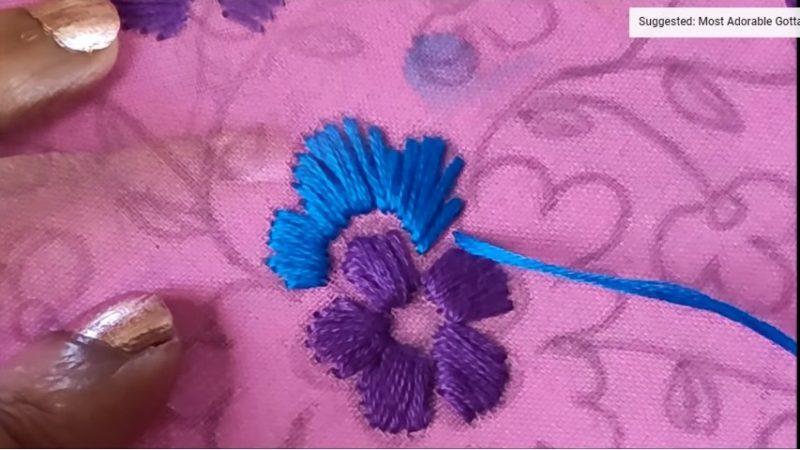 stitching beautiful flowers