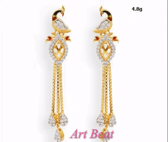 Beautiful light weight gold earrings designs 13
