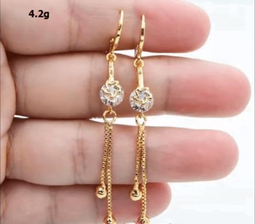 Beautiful light weight gold earrings designs 14