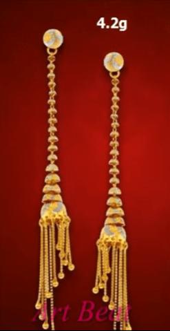 Beautiful light weight gold earrings designs 15