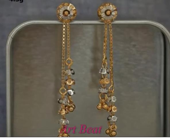 Beautiful light weight gold earrings designs 16