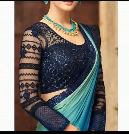 blue net full sleeve design