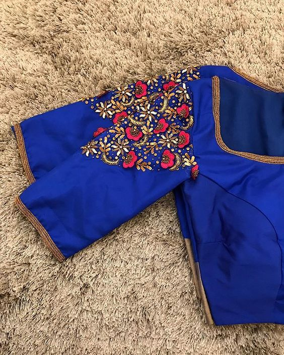 beautiful hand worked blue blouse