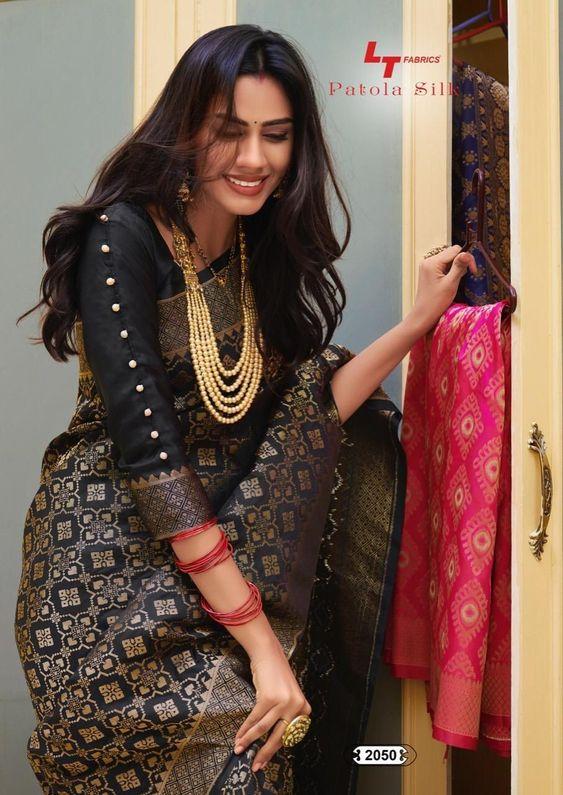 black blouse with silk saree