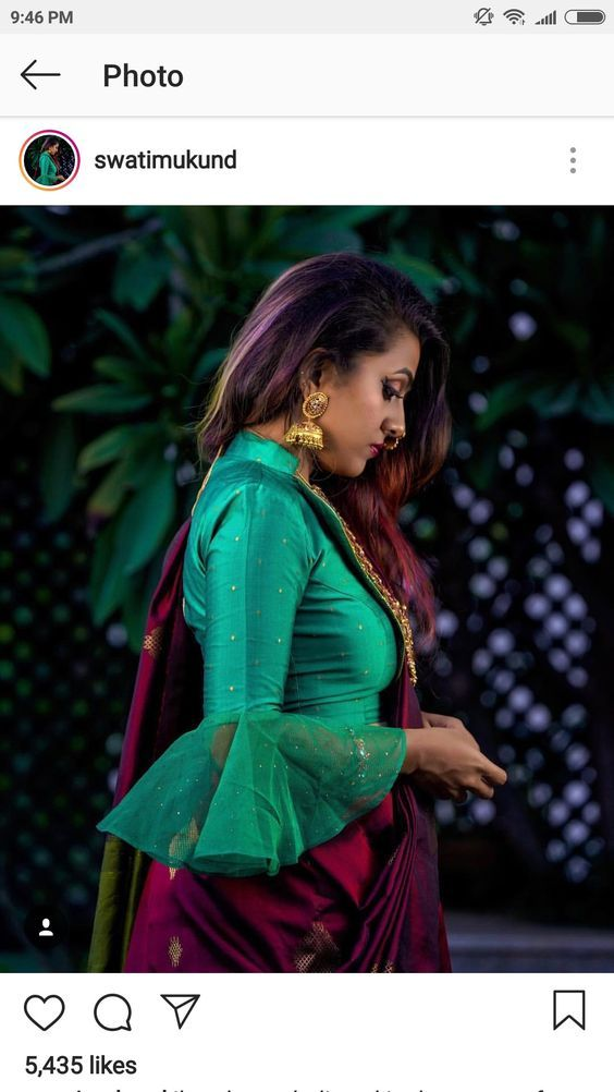 green collar neck blouse with net frills on sleeve
