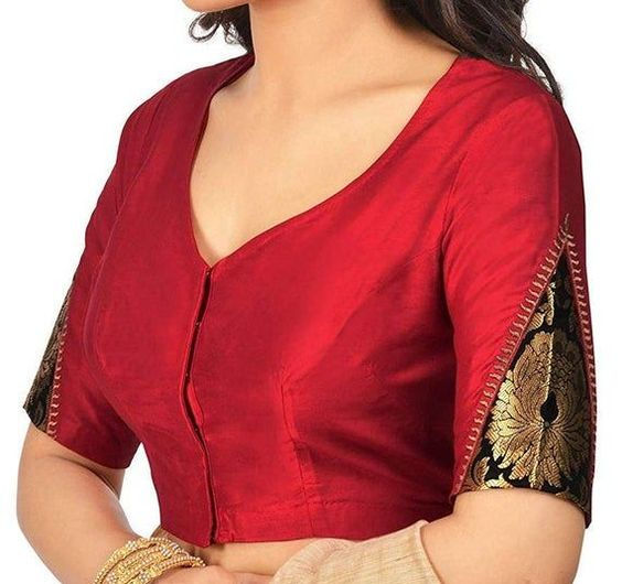 red blouse with silk trendy sleeve