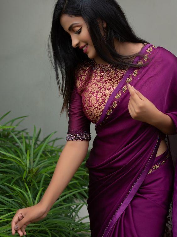 simple violet blouse design