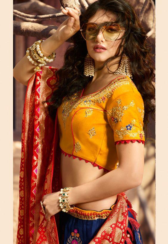yellow princess cut blouse design