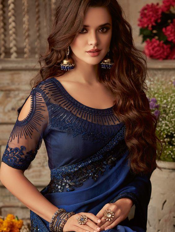 blue blouse with elegant neck design