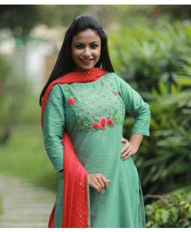 green floral embroidery churidar design