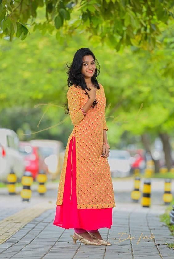 yellow and pink combo kurti