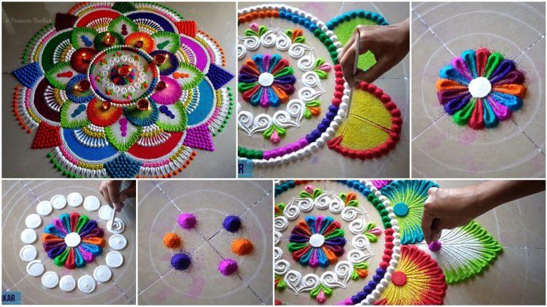 Colorful attractive and unique rangoli design for festivals