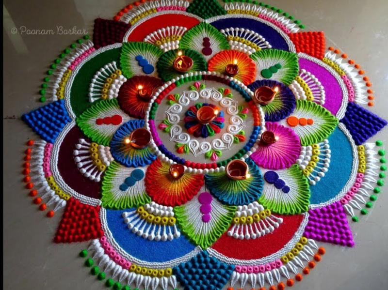Colorful attractive and unique rangoli design for festivals 1