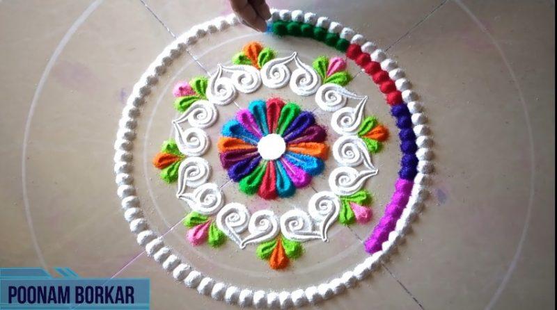 Colorful attractive and unique rangoli design for festivals 10