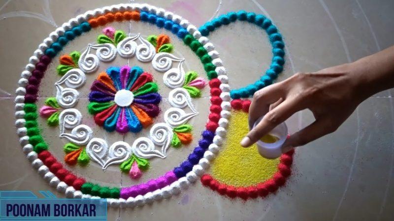 Colorful attractive and unique rangoli design for festivals 12