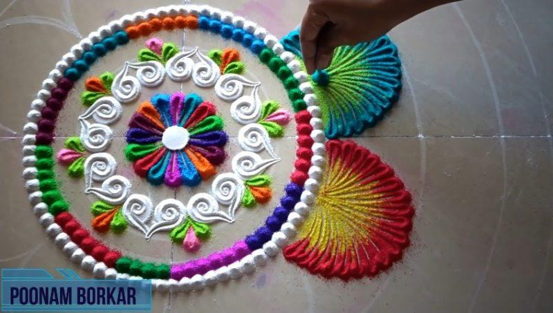 Colorful attractive and unique rangoli design for festivals 15