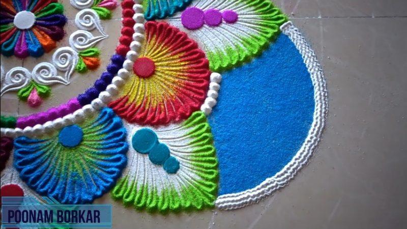 Colorful attractive and unique rangoli design for festivals 18