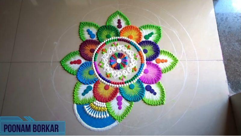 Colorful attractive and unique rangoli design for festivals 19