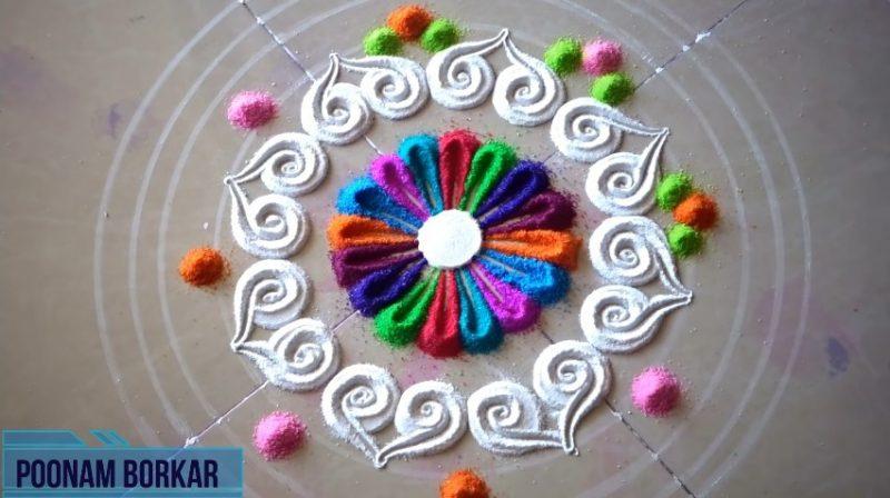 Colorful attractive and unique rangoli design for festivals 8