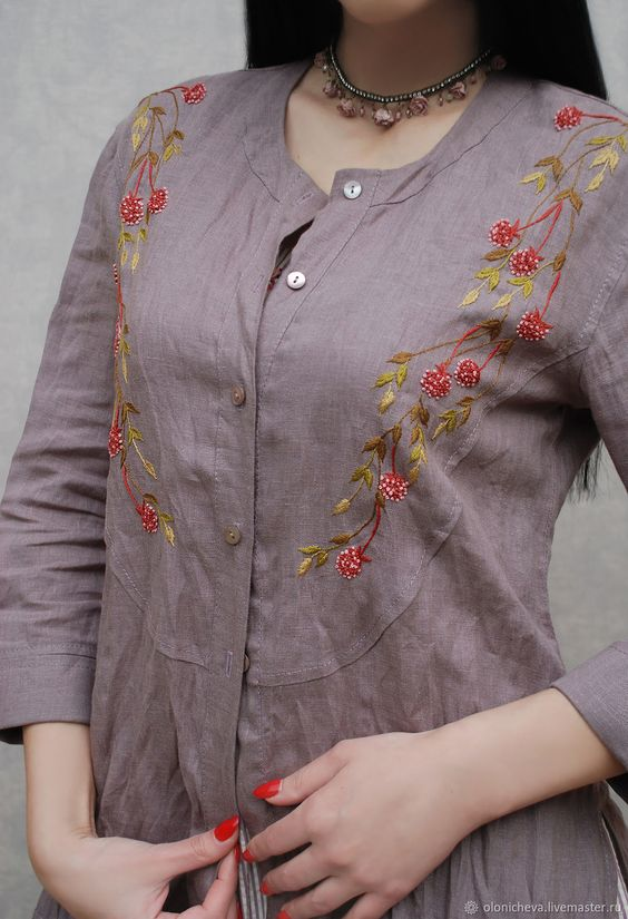 front button embroidery kurti