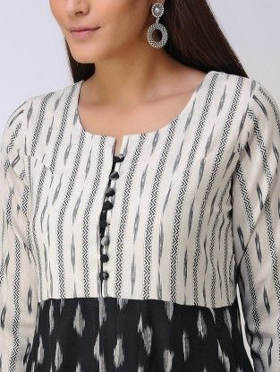 white and black front neck kurti design