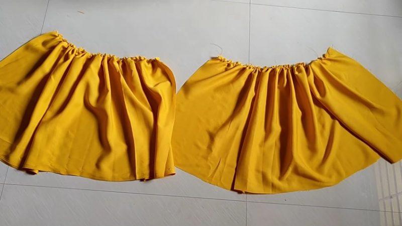 making ruffles on yellow cloth