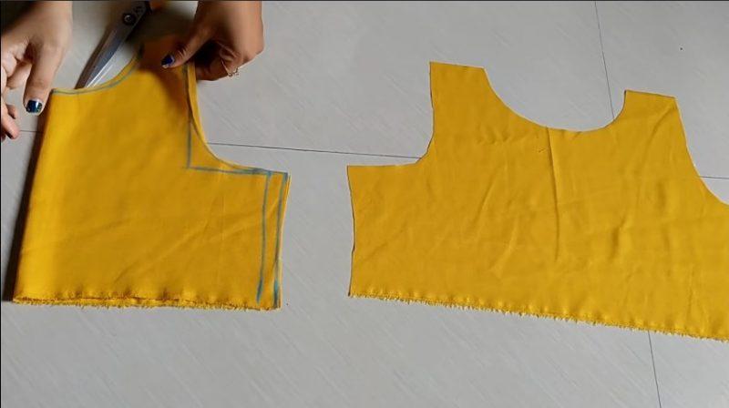 cutting upper portion with scissor