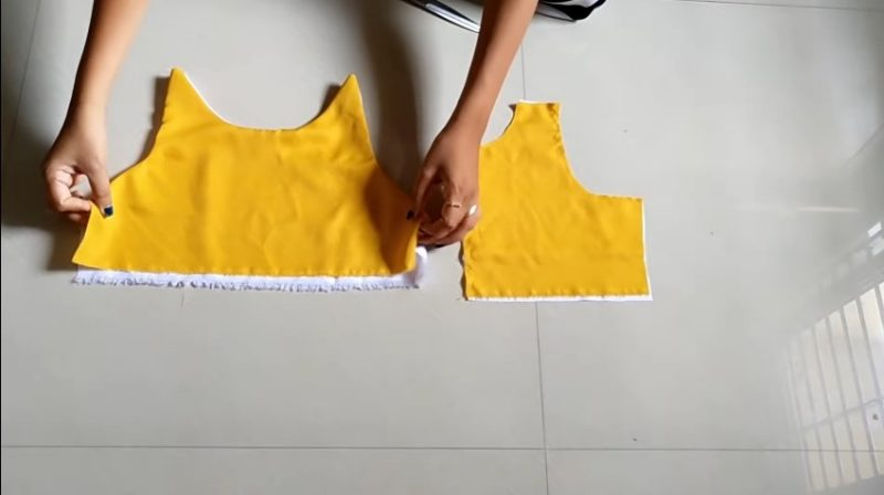stiching the front neck of frock