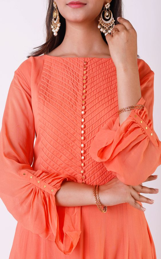 peach color churidar with beautiful sleeve
