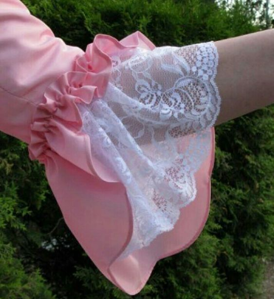 rose color churidar sleeve with lace