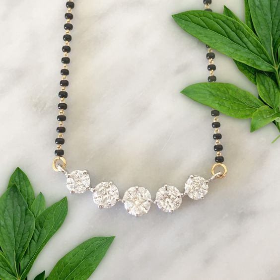 mangalsutra with white stones