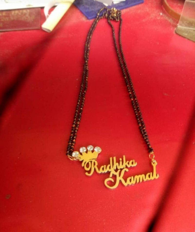 mangalsutra with bride and groom's name