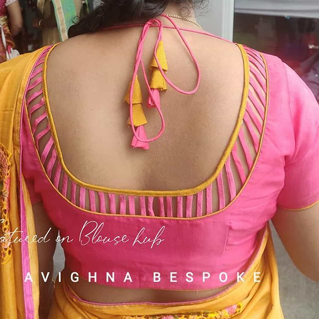 trendy back neck rose color blouse