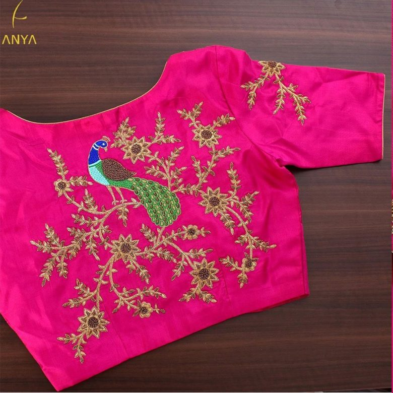boat neck blouse peacock design