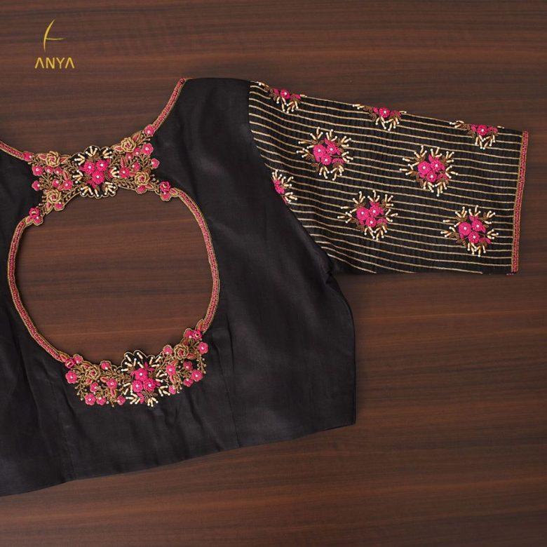 trendy black blouse with stylish back neck design