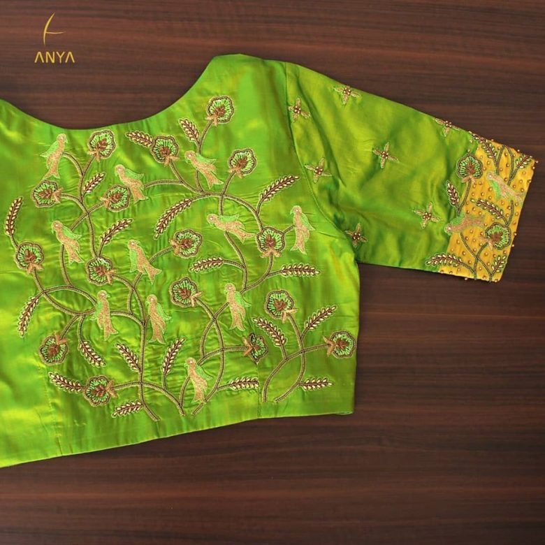 green colored embriodery blouse
