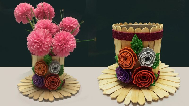 How to make a flower vase with popsicle sticks 1