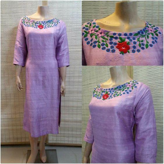 violet embroidery neck design