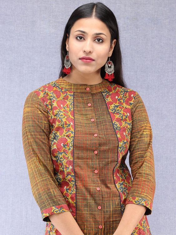 high neck front button designer kurti