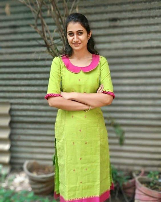 casual green kurti design