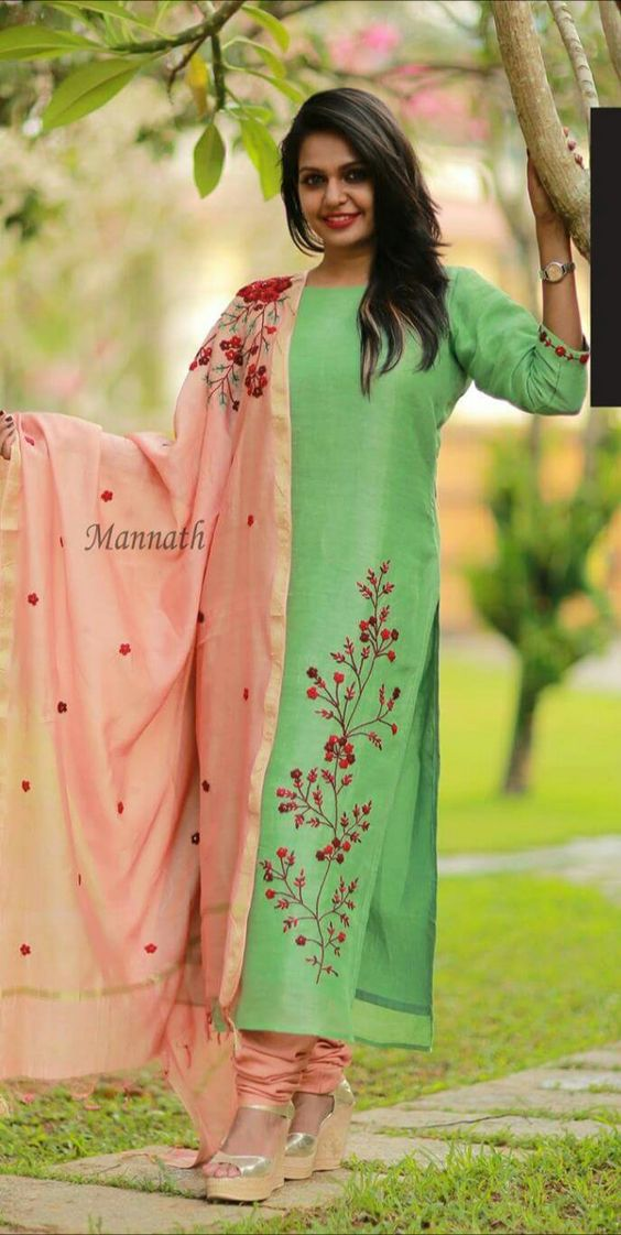 beautiful green kurti design