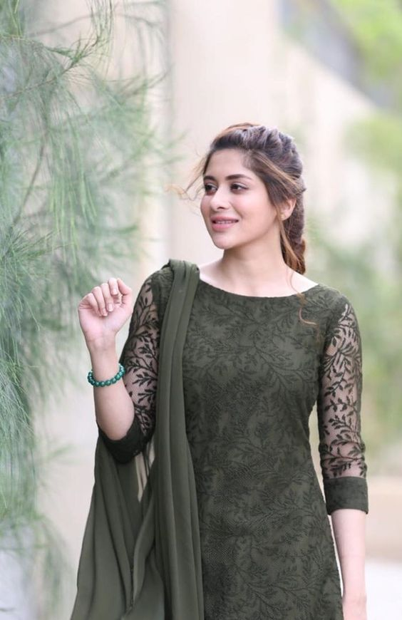 black kurti with net sleeve