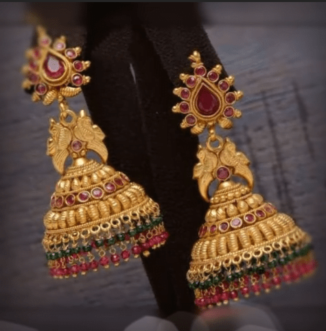Latest beautiful antique gold jhumka designs 1