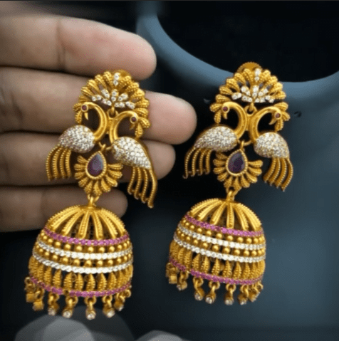 Latest beautiful antique gold jhumka designs 10
